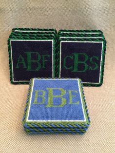 Needlepoint Monogram Coasters. SO traditionally Southern.