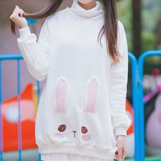 Kawaii S/M Bunny High Color Jumper Japanese Fashion Kawaii Fashion, Cute Fashion, Unique Fashion, Men Fashion, Fashion Trends, Japanese Fashion, Korean Fashion, Mode Outfits, Fashion Outfits