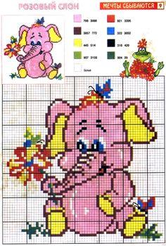 Risultati immagini per punto croce schema con elefante