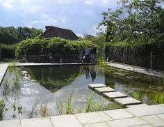 Natural swimming pool. Design by Gartenart. Kent, UK. Plantings were added to shield the view of the house from the pool, making it into more of a sanctuary from everyday life. The hedge at the side was allowed to grow its lush natural self, rather than try to be the tight prim hedge that made the area so sterile to begin with.