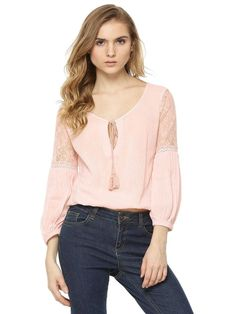 f410ef7b87211 Buy Women Sbuys Peach Lace Sleeve Insert Top Online only for Grab Girl s  Sbuys Peach Lace Sleeve Insert Top Online in India at best prices  exclusively at ...