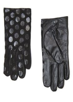 MANGO - Polka-dot leather gloves