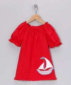 Take a look at this Red Sailboat Peasant Tee - Infant, Toddler & Girls by Beehave on #zulily today! Perfect match for the #fall striped pants.