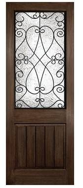 RUSTIC 3/0 x 8/0: PRISCILLA W/ WROUGHT IRON FRAME: Two Panel w/ Plank: Square Plank, Square Top