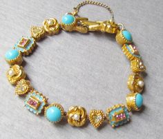 Victorian Revival Signed ART Gold Charm Bracelet by vintagepaige, $48.00