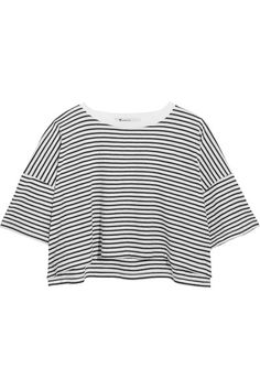 T by Alexander Wang - Striped Cotton-jersey T-shirt - White - x small