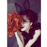 Novas Faixas de Cabelo Da Moda Cocar Partido Headwear Acessórios Véu de Renda Preta Máscaras Do Partido Do Casamento Marca 7473