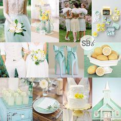 Pantone Aquamarine, Lucite Green & Custard Inspiration Board | SouthBound Bride