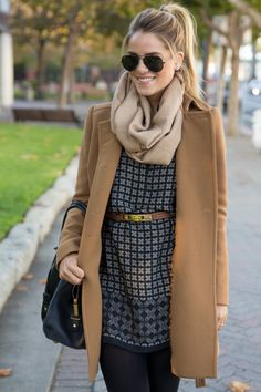 camel coat + chunky scarf + navy printed dress