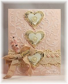 "Pretty In Pink Vintage Hearts ""Love"" Card...with sheet music hearts and buttons and crocheted lace trim.  By Kim: Dragonfly Dreams."