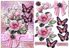 Magnolia Blossoms And Butterflies on Craftsuprint designed by Marijke Kok - Very beautiful design with magnolia blosssoms and butterflies aloveley bow with brad on a shimmering background....very elegant. - Now available for download!