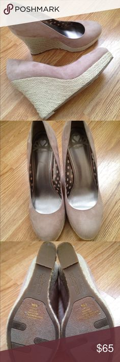 Women's wedges Super cute beige wedges, size 8,5. Like new, worn two times, perfect for fall or spring Fergalicious Shoes Wedges