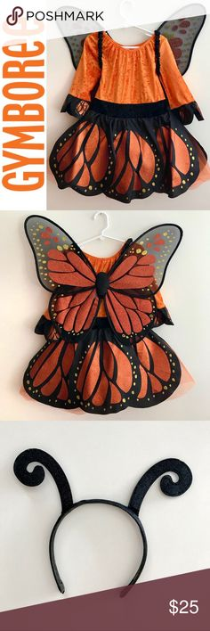 GYMBOREE Girl's Monarch Butterfly Costume (7/8) Size 7-8 girls monarch butterfly costume from Gymboree. Worn twice (once to school, once trick or treating!) - in great condition with no stains or tears. This adorable costume got so many compliments! Includes costume, butterfly wings and headband. Sadly the little wand (stock photo) seems to have made itself disappear!   Ships from a pet/smoke free home. Gymboree Costumes Halloween