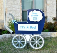 Not solely storks, our navy baby carriage is a beautiful welcome home for the proud parents and newest addition. Customization available for boy and girl.