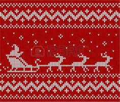 Red sweater with Santa and his deers seamless pattern. Stock Photo - 16403288