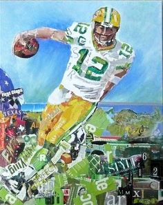 """Aaron Rodgers: Green Bay Packer 11002"" - Original Fine Art for Sale - © Nancy Standlee"