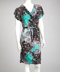Take a look at this Teal & Black Floral Belted Dress by jon & anna on #zulily today!