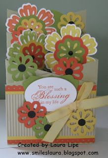 Stampin Up, cascading card, Blossom punch, Mixed Bunch stamp set