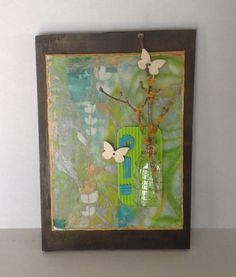 6x8 flat canvas with encaustic and mixed media