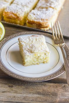 Greek Yogurt Cream Cheese Lemon Coffee Cake - Sweet and moist with a light lemon flavor and a creamy, crumbly topping
