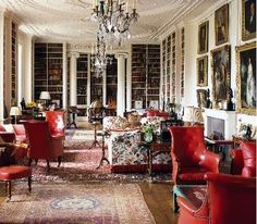 (via The Fuller View (thefullerview) on Pinterest)  Too much red but love the library painted inside and rugs and trim.