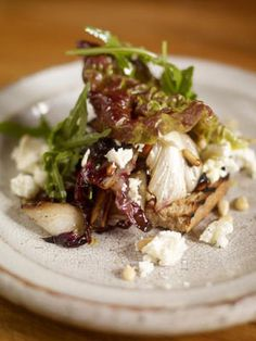 This salad with radicchio is one of my favourite winter salads – the crispness of the bread, the saltiness of the feta cheese. It comes with quite a sweet dressing which compliments the bitterness of the leaves perfectly. A great little starter. You don't need to buy expensive balsamic vinegar for this one – the cheap stuff is fine as you'll be reducing it into a lovely dressing.