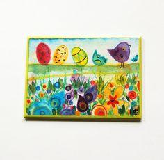 Easter Magnet, Easter Egg Magnet, Fridge magnet, Kitchen magnet, ACEO, Easter gift, Easter Basket gift, Bright colors (5409) by KellysMagnets on Etsy