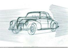 Hergé: croquis préparatoire représentant, la voiture du capitaine Haddock, pour 'Les 7 Boules de Cristal'
