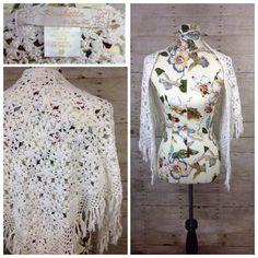 Kroshetta by Papillon White Crochet Shawl MEDIUM M Wrap Scarf COTTON Boho Hippie #ShawlWrap
