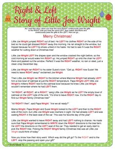 Right & Left - Little Joe Wright.  Sounds fun for sharing Christmas gifts.