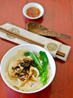 Pan Mee/ Tearaway or Pull-apart Noodle. Homemade handmade noodle serve in anchovy broth.
