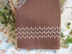 herringbone embroidery on waffle weave dish towel - Miss Abigail's Hope Chest: Abby's kitchen linens