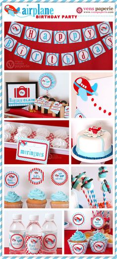 Airplane Party Package Personalized FULL Collection von venspaperie