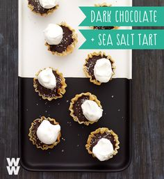 A sweet and salty combo, your tastebuds will thank you. Try this Weight Watchers Dark Chocolate and sea salt tartlet recipe at your next holiday party, or just for snacks at home.