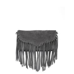 Lillian - Grey Suede Fringe Bag With Removable Straps, So You Can Also Wear as a Clutch - Susu Handbags