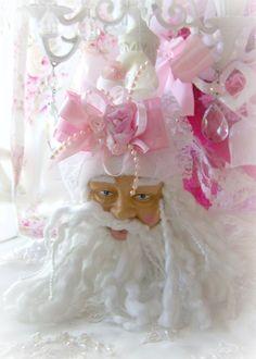Princess Shabby Chic Rose Pink Santa Head by Oliviasromantichome