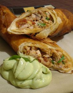 Best Chicken Flautas With Lime Sour Cream Recipe on Pinterest