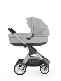 Stokke® Crusi™ with Stokke® Stroller Carry Cot Grey Melange.