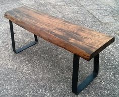 Live Edge Ambrosia maple bench on flat bar steel legs.  This has a dark stain and a satin polyurethane finish.  Measurements at 44 inches long, 13 inches deep and 18 inches tall - available for sale on the website.