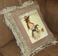 Vintage Magazine Cover Cowgirl Horse Riding Western Decor Pillow