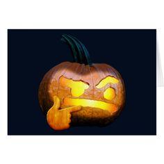 Halloween - Thinking emoji carved pumpkin Card #halloween #holiday #creepyhollow #cards #postage