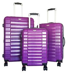 3 Pc Luggage Set Hardside Rolling 4 Wheel Spinner Upright CarryOn Travel Purple * Find out more about the great product at the image link.