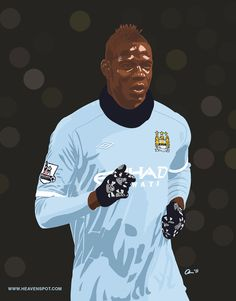 Soccer great Mario Balotelli created in Adobe Ideas, vector, illustration, tablet, drawing app, england, manchester city, soccer, football, football, EPL, BPL