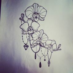 Flower and bead tattoo