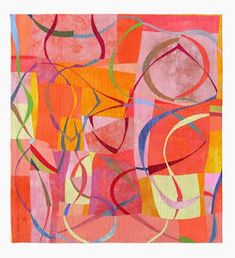 """""""Play of Lines XVI"""" by Uta Lenk was part of the SAQA-exhibit """"Wide Horizons II"""" which was a juried exhibition of quilts by European and Israeli SAQA-members shown in Ste. Marie-aux-Mines in France."""