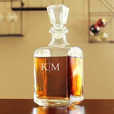 Personalized Etched Contemporary Whiskey Decanter for home bar - SoCuteInc.com