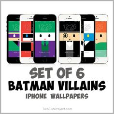 Watch out Gotham! Here come the villains....Batman Villains iPhone wallpapers, that is. This set features Joker, Harley Quinn, Riddler, Poison Ivy, Penguin and Two Face. Designed for iPhone 5, 5c, 5s, 6, 6 Plus. Perfect for Batman comic fans.
