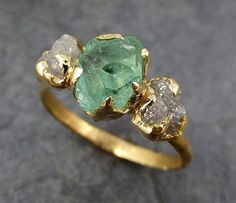 Home > products > three raw stone diamond emerald engagement ring gold wedding ring uncut birthstone stacking ring rough diamond ring 0163