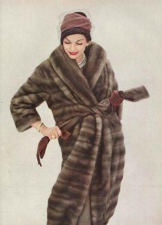 October Vogue, 1958. Vintage fur . 1950s fashion