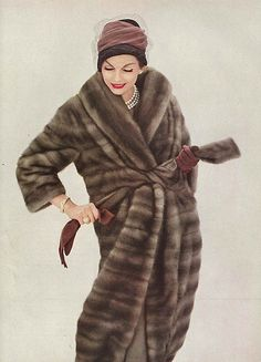 October Vogue, 1958. Vintage fur . 1950s fashion